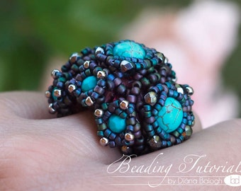 Beading tutorial for jewelry making, Aglio ring tutorial, photo tutorial, beading pattern, DIY tutorial, Craft supply, Cocktail ring