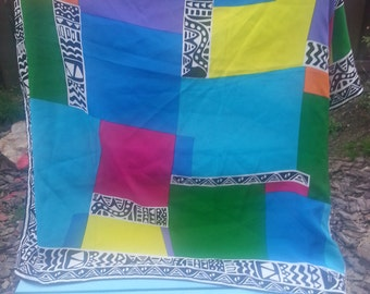 Vintage 1980's Runway Brand Scarf - Block Rainbow Colors - New Condition!