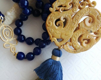 Gemstone Necklace Blue Agate and carved jade, long necklace