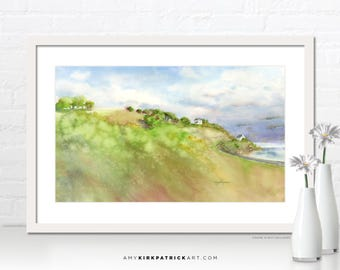 Jersey Shore UK Painting, Landscape Art Print, Landscape Greeting Cards, Original Landscape Watercolor, Landscape Wall Art, Jersey Shore UK