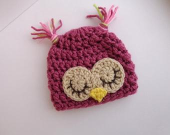 Newborn Crochet Owl Hat Sleepy Owl Baby Girl Hat Photo prop Animal Hat Knit Hat Bird Hat Pink Hat Baby Boy