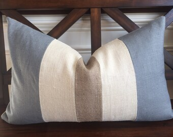 Charcoal Gray Linen with Natural and Cream Burlap Lumbar Pillow Cover