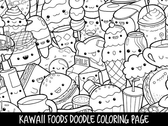 Foods doodle coloring page printable cute kawaii coloring