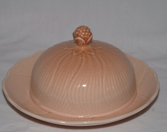 Mikasa Ceramic Butter Dish, Amaryllis, Pink-Peach color