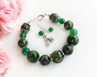 Natural zoisite ruby chrysoprase lampwork glass beads agate beaded bracelet, green gemstone womens bracelet, lampwork glass jewelry, acorn