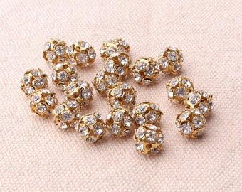10pcs Crystal Rhinestone Silver Center Spacers 7mm Hollow