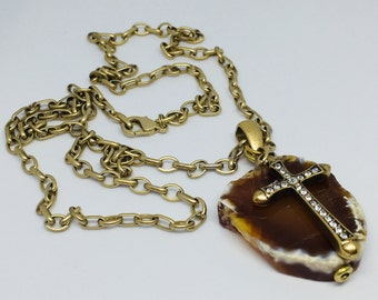 Cross Necklace Brown Agate Rhinestones Gold Chain Resurrection Tombstone