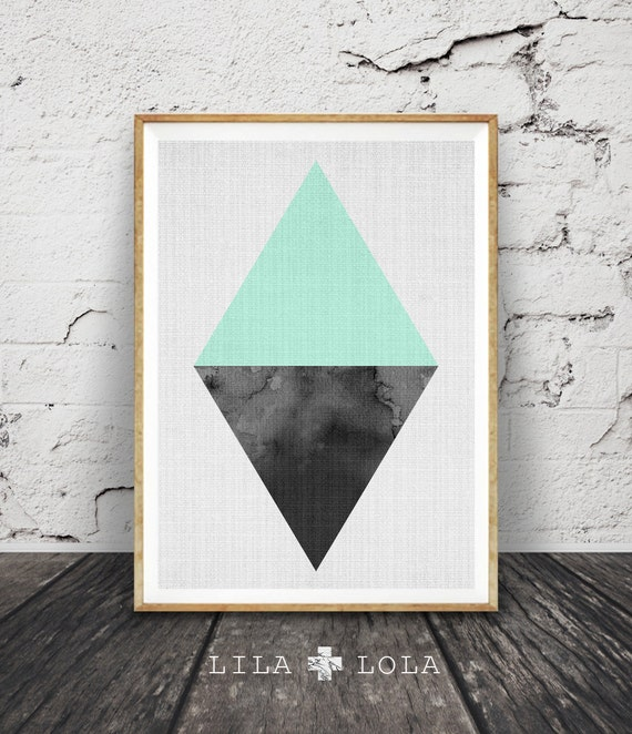 Triangle Print, Geometric Wall Art, Scandinavian, Minimalist Modern Design, Nordic, Mint Green Home Decor, Printable Instant Download