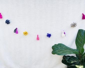 Pom Pom Banner, Eclectic Decor, Bohemian Decor, Boho banner, Boho Bridal Shower, Bohemian Baby Shower, Yarn Tassels, Tassel Banner, Bachelor