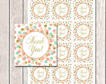 Coral Mint Peach Gold Thank You Tags Printable Birthday Party Favors Baby Shower Thank You Favor Tags Square Thank You Tags INSTANT DOWNLOAD