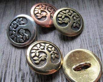 CHOOSE COLOR Bird in a Tree Button, Pewter Button, Tree Button, Bird Button, button, TierraCast Button, Wrap Bracelet Button