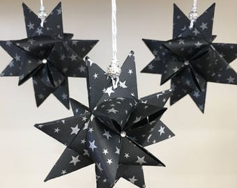 3 German Froebel Star Ornaments with Hand-Folded Box - Save When You Buy 2! - Swedish Star - Moravian Star - Origami