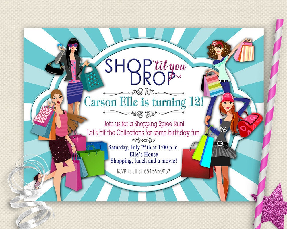 Girls day out invitation shopping birthday invitation mall zoom filmwisefo Images
