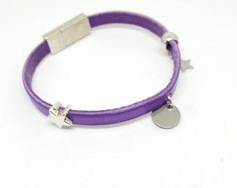 """bracelet cuir femme """"MAUVE"""""""