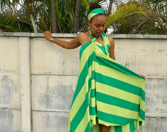 GREEN strip MAXI DRESS , strip maxi dress with halter top , good for All sizes