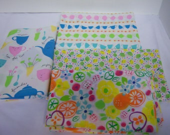 Four Fabric 1 Yard Pieces, New Never Used, Cotton Or Blend, Buy One Or All, Teacups andf Fruit Designs, Upcycle Fabric