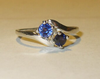 Genuine Sapphire Gemstones in Solid Sterling Ring - Natural Mined from Earth Gemstones - Blue and Wine Color, Size 6