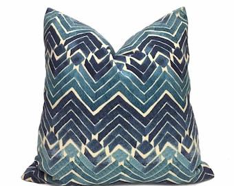 "Blue Teal Ikat Chevron Print Pillow Cover, Fits 12x18 12x24 14x20 16x26 16"" 18"" 20"" 22"" 24"" 26"" Cushions"