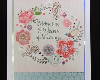 5th Anniversary Card, 5th Years of Marriage Cards, Cards for Daughter and Husband, Son and Wife, Personalise Card if Required