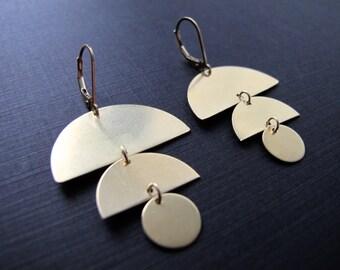 Geometric Brass Earrings, Semi Circle dangles, 14k Gold Filled Ear Wires