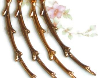 Vintaj branch,branch pendant,vintage supplies,Broken Branch Pendant Component Art Deco Antique brass Ox Bird Twig.#1423