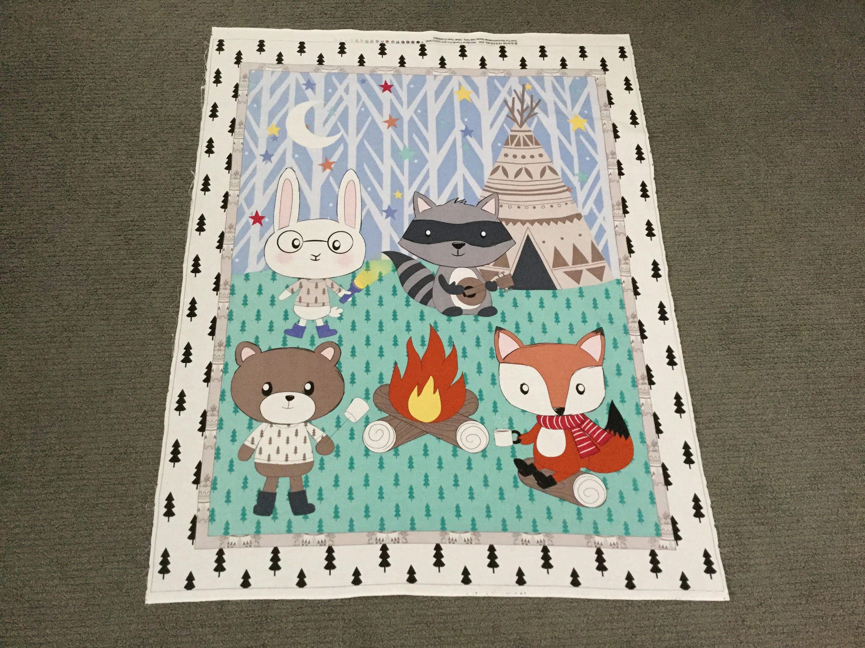 Woodland animal fabric panel juvenile fabric unisex baby for Unisex baby fabric
