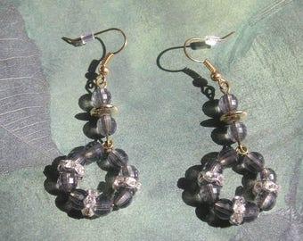 ODARA Handmade Charcoal Grey and Clear Rhinestone Earrings