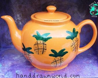 Orange teapot, large teapot, pineapple, tropical, fruit, tea lovers, gifts for her, Summer, club tropicana, fruit lovers, homewares