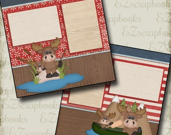 Moose Adventure Girl - 2 Premade Scrapbook Pages - EZ Layout 433