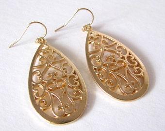 Teardrop Filigree Dangle Earrings Modern Sleek Elegant Design 14kt Gold Filled Earwires