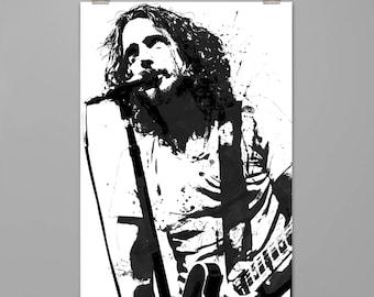 Chris Cornell poster Music wall decor Modern art print Splattered watercolor style Contemporary art PRINT #0093