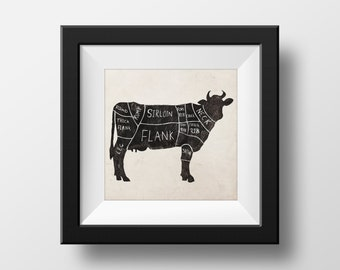 Butchers Cow Chart Kitchen illustration giclée Print