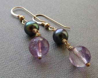 Peacock Pearl Amethyst Gold Dangle Earrings