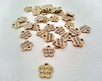 Free shipping!!! 25 pcs.Tiny HANDMADE flower antique bronze charms pendants 8x8 mm.,accessories,earring,bracelet,necklace,jewelry finding