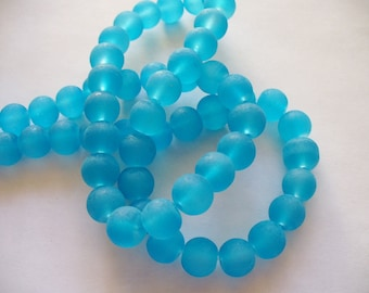Beach Glass Beads Blue Frosted 8MM