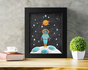 Printable Astronaut Art Print, Outer Space Decor, Spaceman Kids Room Decor, Digital Download