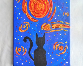 Original Starry Night Inspired Black Cat Silhouette, Ready to Hang, OOAK, One of a Kind, Moon, Stars, Comet, Meteor, Meteorite, Acrylic