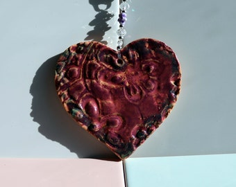 Pottery Heart with To have & To Hold ribbon. Love heart, Home Decor, Wedding, Anniversary, Fathers Day, Easter, Birthday,pottery ornament.