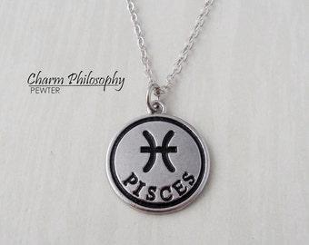 Pisces Zodiac Necklace - Antique Silver Horoscope Pendant