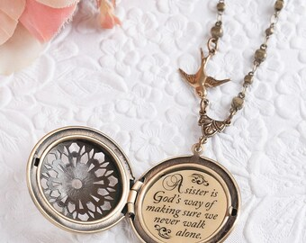 Sister Gift Sister Necklace Gift for Sister A sister is God's way of making sure we never walk alone Sister Jewelry Sister Wedding Gift