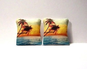 Miniature Decorative Pillows Nautical Beach Sunset Palms Dollhouse Diggs 1:12
