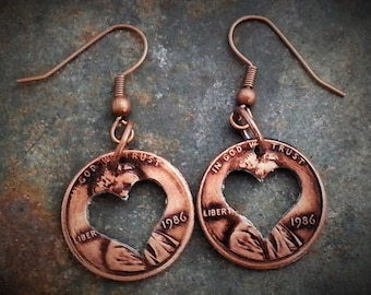 Mother's Day Penny Heart Earrings Mother's Day Gift for Mom Customizable Years Coin Jewelery made from Pennies