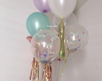 Unicorn balloon pack- confetti balloons, tassels