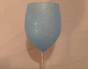 Glitter Wine Glass Pastle Blue