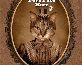 Custom Vintage Image of Your Pet, Cat Portrait, Dog Portrait, Pet Lover Gift, Perfect Gift, Perfect Christmas Gift