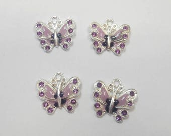 4 charms enameled Butterfly Purple 2.5 x 2.5 mm