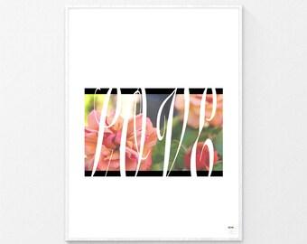 Love, Flower Print, Floral Print, Printables, Contemporary Prints, Digital Prints, Contemporary Décor, Wall Art, Modern Print