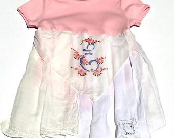Hankie Babies vintage hankie onesie dress -- Addie style