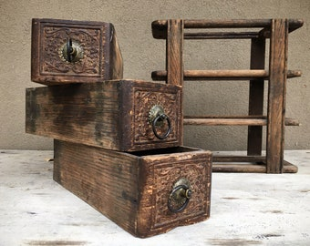 Old Rustic Sewing Machine Wood Drawers in Frame, Rustic Home Decor Industrial