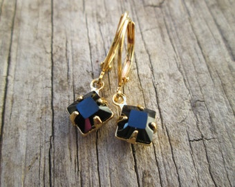 Jet Black Swarovski Crystal Petite Dangle Gold Earrings, Minimalist